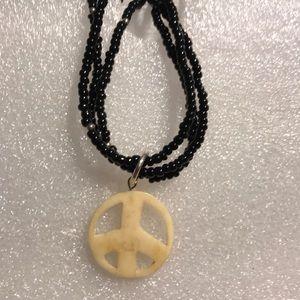 Jewelry - Bone peace sign necklace